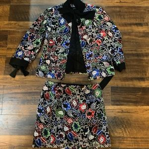 Zara Multi-Colored Lace Blazer & Skirt